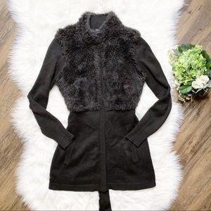 • Tahari Midori Black Knit Cardigan Faux Fur Belt